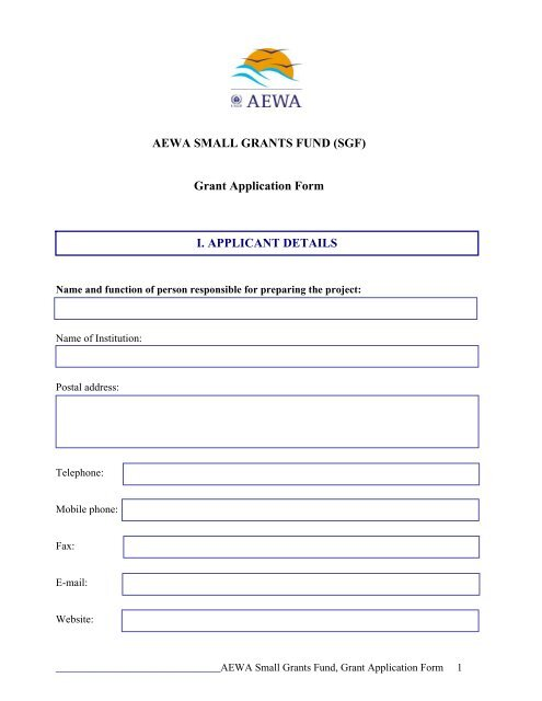 npo application forms for funding