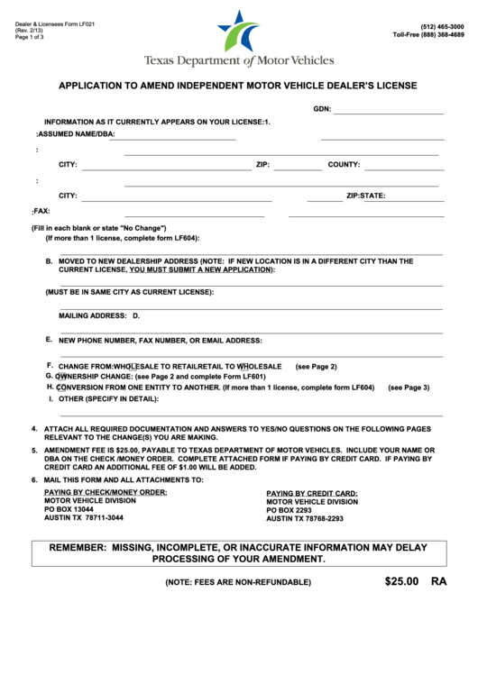 application for licensing of motor vehicle
