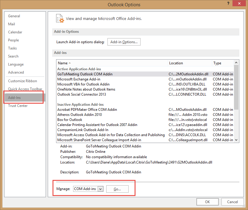 inactive application add ins outlook 2013