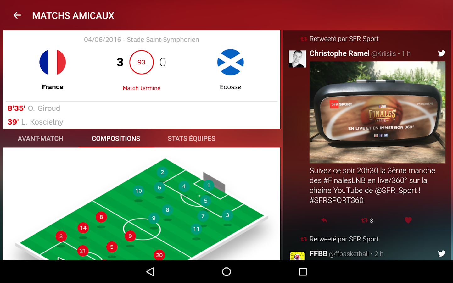 application match en direct android