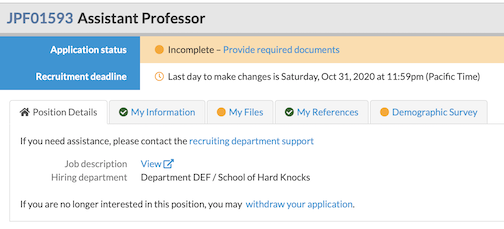 check application status with uci