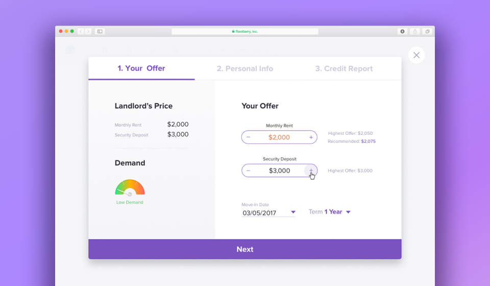 online rental application and credit check